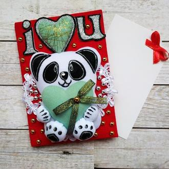Валентинка  на День святого Валентина с пандой