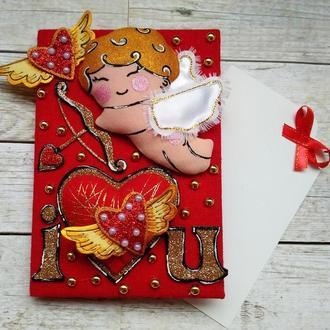 Валентинка открытка с забавным амуром