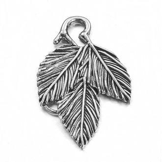 Кулон Лист фигурный античное серебро, размер 39x24x2.5мм, 1 уп - 1 шт
