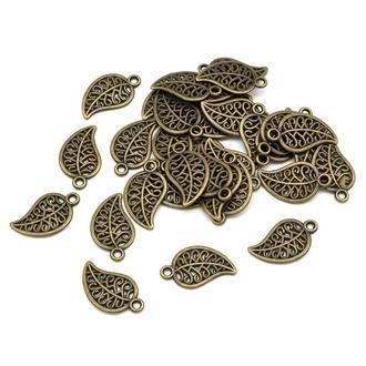 Подвески для украшений Лист античная бронза, размер 18х10х1мм, 1 уп - 5 шт