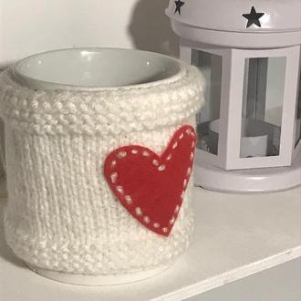 Чехол с сердечком для чашки, грелка для чашки, одежды на чашку