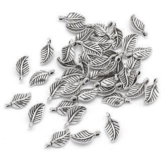 Подвески для браслетов Листики античное серебро, размер 14.5x7.5x4мм, 1 уп - 5 шт