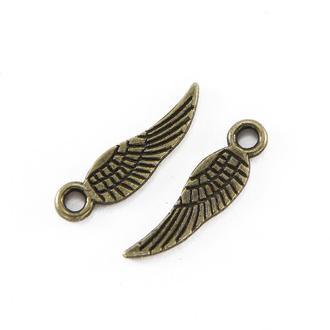 Крыло подвески для украшений бронза, размер 17х5х1мм, 1 уп - 5 шт