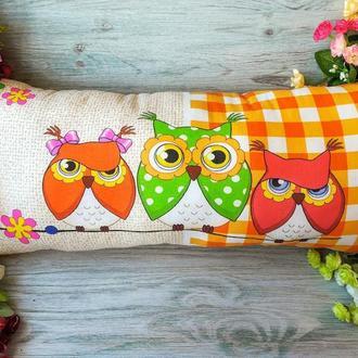 Подушка детская декоративная Три совы на оранжевом, 69 см*30 см
