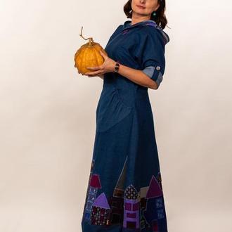 Дизайнерское платье из джинсовой ткани