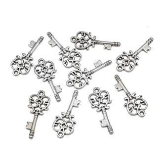 Ключ ажурный кулон, фурнитура для украшений, размер 33x14х2мм, 1 уп - 2 шт