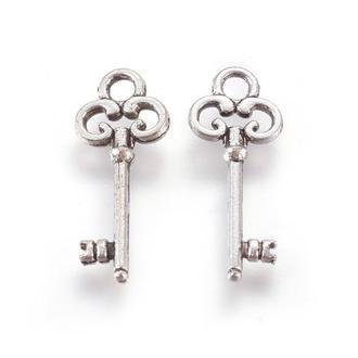 Ключ подвески для украшений античное серебро, размер 21x8x2мм, 1 уп - 5 шт