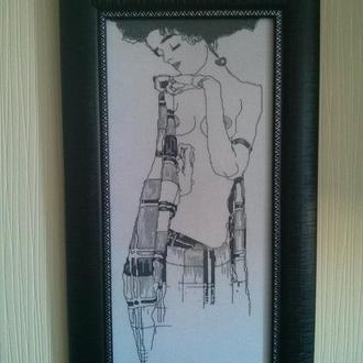 """Густав Климт """"Жозефина"""", графика Ню - ручная вышивка, в дизайнерской рамке"""