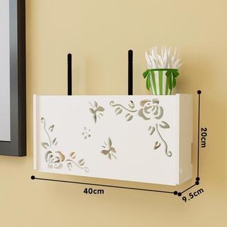 Настенная деревянная коробка для роутера Wi-Fi Белая
