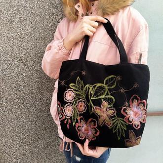 Вельветова сумка з вишивкою