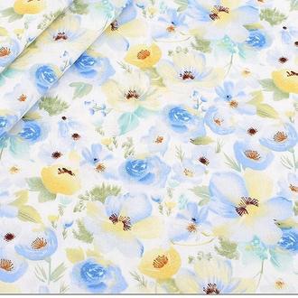 """Ткань хлопок для рукоделия """"Акварельные цветы"""""""