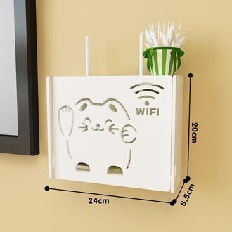 Настенная деревянная коробка для роутера Wi-Fi Белая Малая