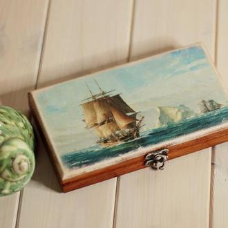 Купюрница «Кораблик» деревянная шкатулка