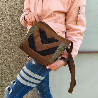 Вельветовая кэжуал сумка на длинном ремне