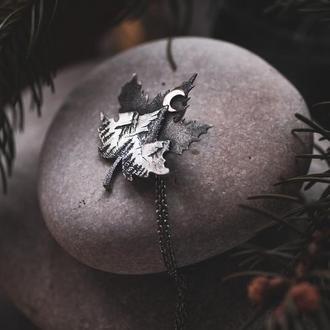 Кулон серебряный «Ночные горы»