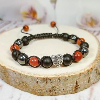 "Шамбала браслет из натуральных камней ""Сердце"""