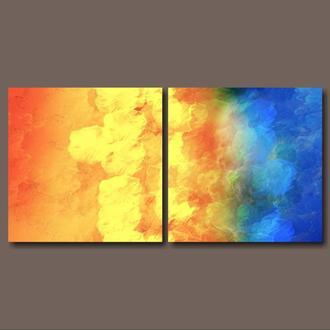 """Модульная картина абстракция """"Диптих. Море и солнце"""""""
