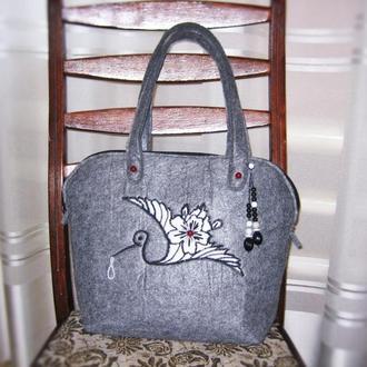 Женская повседневная сумка войлочная с аппликацией аист