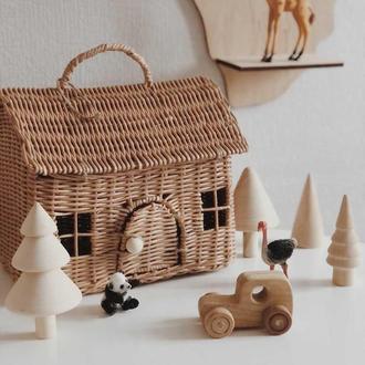 Плетёный Кукольный домик, саквояж, переноска, корзина