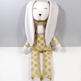 Солнечный зайчик Белый заяц Большая мягкая игрушка кролик Нарядная зайка