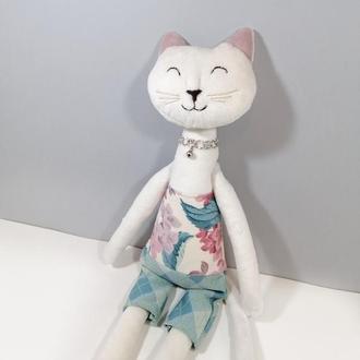 Белый котик Большая мягкая игрушка кошечка Цветочный кот Нежная кошка