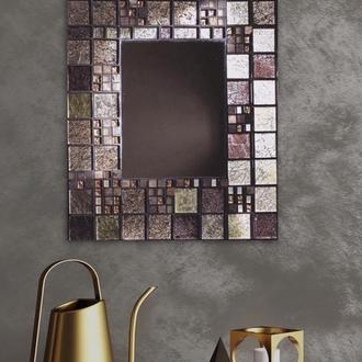 Зеркало золотое из мозаики в ванную, спальню, кабинет, на подарок