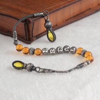 Четки из серебра ребристые шарики с нитью из серебра ручной работы с лимонными камнями Инициалы