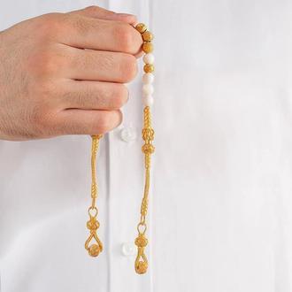 Золотые четки серебряные 999 пробы с белыми или черными шариками бусинами ручной работы