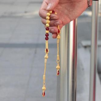 Четки с позолотой 18 карат  999 пробы Серебро с красными алыми камням плетёные