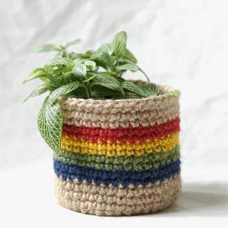 Кашпо з джуту для кімнатних рослин с райдужним декором