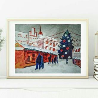 """картина акварель """"рождественская ярмарка в Таллинне"""""""