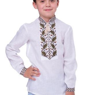 Рубашка вышиванка для мальчика Дубок (лен белый)