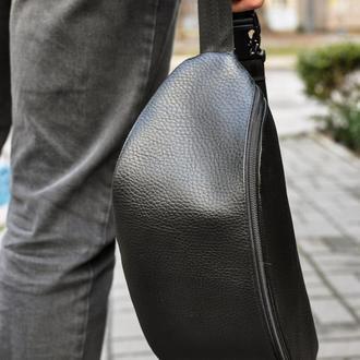 Поясная сумка бананка из эко кожи черная унисекс ручной работы