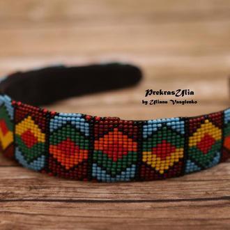 Обруч из бисера разноцветный
