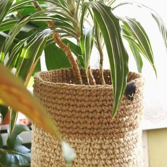 Натуральная джутовая корзина-кашпо для больших комнатных растений