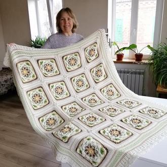 Цветочный плед, вязаное одеяло, молочное покрывало.