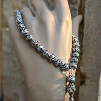 Четки уникальные стильный Эксклюзив  на руку браслет из серебра ручной работы 925 пробы