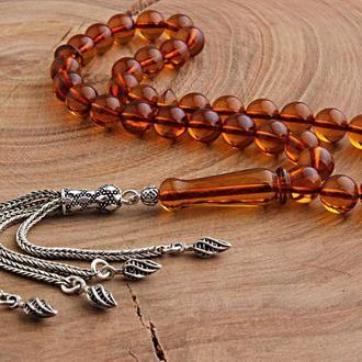 Дизайнерские Четки из янтаря Серебряные кисточки и нить 925 пробы ручной работы