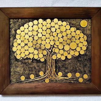 Монетное денежное дерево 24х30 золотое панно