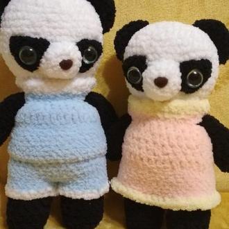 Панда вязанная крючком