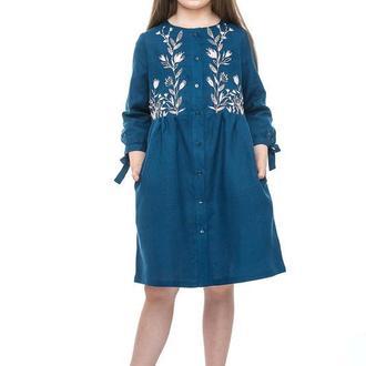 Сукня Для Дівчинки Аніта (Льон Синій)