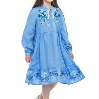 Сукня для дівчинки Піона (льон блакитний)