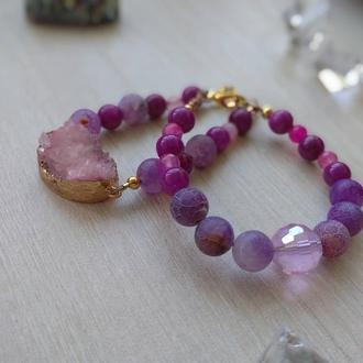 """Сет женских браслетов из натуральных камней """"Сиреневый кварц"""""""