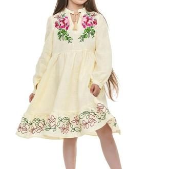 Сукня для дівчинки Піона (льон молочний)