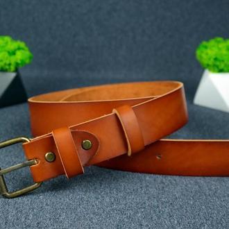 Кожаный пояс под джинсы цвет коньяк с пряжкой №1