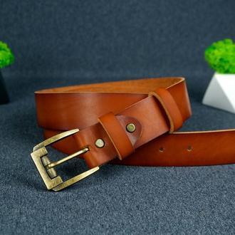 Кожаный пояс под джинсы цвет коньяк с пряжкой № 3