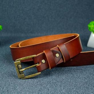 Кожаный пояс под джинсы цвет вишня с пряжкой № 3