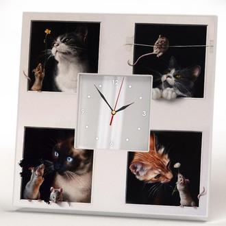 """Настенные часы с необычным дизайном """"Кошки мышки"""""""