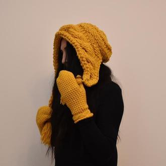 Шапка капюшон и варежки желто горчичный вязаный  комплект на весну  цвет охры
