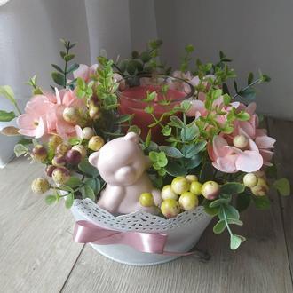 Гортензия со свечкой и мишкой / Весенняя композиция